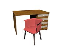 Schreibtisch mit Stuhl freigestellt