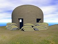 Bunker mit Sandsacken umrahmt