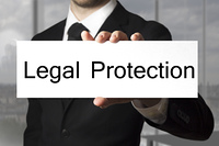 businessman showing sign legal protection