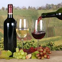 Wein wird aus einer Weinflasche in ein Glas eingegossen