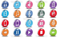 Glossy Vector 3d Oval Multimedia Bevel Icons