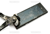 New smart phone smashed by a old pincers.  Studio photo, isolated on white.