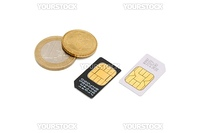 Two SIM cards for cellular phones and euro cents isolated