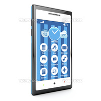 3d smartphone with touch screen on white