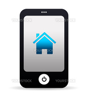 High resolution mobile phone graphic with Home Icon.