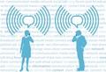タイトル:Business smartphone people communicate in WiFi speech bubbles on social media background