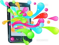 Mobile phone smartphone with jelly bubbles coming out of it