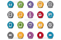 Vector 3d Oval Multimedia Icons