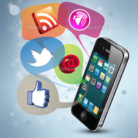 Modern illustration demonstrating social media on a smartphone