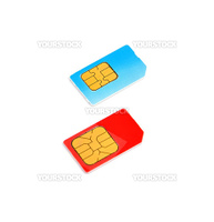 two SIM cards on a white background