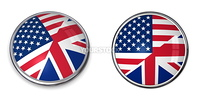button style banner of united states of america and united kingdom