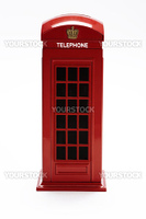 classic british telephone booth isolated on white background
