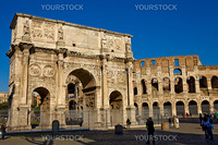 landscape photo of the roman colosseum and constantines arch