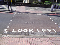 Look right look left sign on London zebra crossing