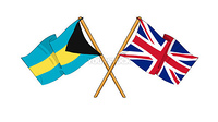 cartoon-like drawings of flags showing friendship between the Bahamas and United Kingdom