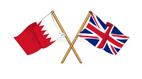 cartoon-like drawings of flags showing friendship between Bahrain and United Kingdom