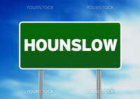 Green Hounslow, England highway sign on Cloud Background.