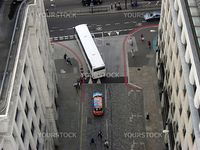 Top view from The Monument of a coloured taxi in London.