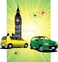 London Poster  with two cars image. Vector illustration