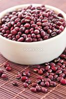 Dry red adzuki beans in a bowl