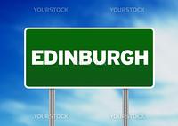Green Edinburgh, England highway sign on Cloud Background.