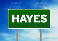 Green Hayes, England highway sign on Cloud Background.