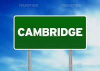 Green Cambridge, England highway sign on Cloud Background.