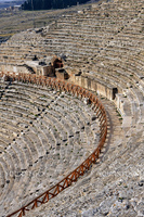 The Roman ruins of Hierapolis  are found at Pamukkale Turkey