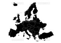 map of Europe with country borders  scalable and editable vector illustration
