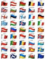 complete set of european flags with light effects
