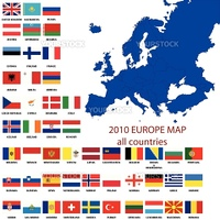 Editable map of Europe- all countries with borders and oficial flags in original colors