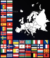 Editable map of Europe with flags
