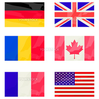 stylized flags collection over white background