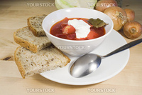 Vegetable soup - borscht in bowl with bread