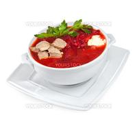 borscht - beet soup on a white background