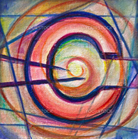 Fine art cubist painting of currency symbol