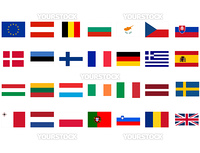 Flags of European countries isolated over white