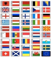 high detailed european flags collection