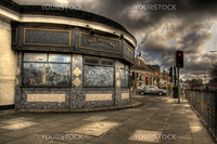"HDR image of Penny Lane ""shelter in the middle of a roundabout"" made famous by The Beatles song"