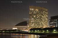 Fukuoka city landmark, SeaHawk hotel and baseball stadium on the Momochi seaside, night shot