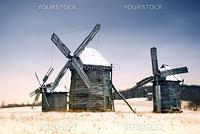 Old wooden windmills at Pirogovo ethnographic museum, near Kiev, Ukraine