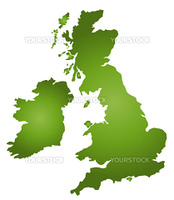A stylized blank map of Great Britain. All isolated on white background.