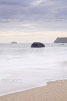 Slow shutter seascape. View from Greenaway beach cornwall to Pentire point.