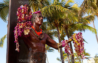 Statue of famous surfer Duke Kahanamoku on Waikiki beach in Hawaii