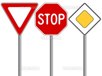 traffic signs against white background, abstract vector art illustration