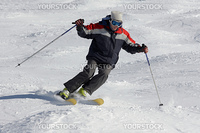 Man skier at snow slope