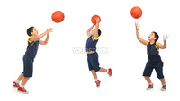Boy playing basketball isolated. Different positions. From my sport series.