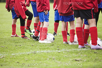 Close up of Young Soccer Players Legs