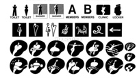 30 people icons in black and white