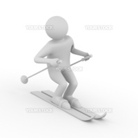 skier on white background. Isolated 3D image